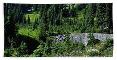 Stone Bridge And Wildflowers Bath Towel by Ansel Price