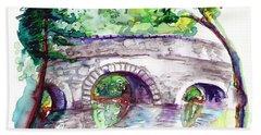Stone Bridge In Early Autumn Hand Towel