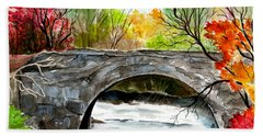 Stone Bridge In Maine  Hand Towel