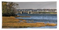 Hand Towel featuring the photograph Stone Bridge At Mills Gut Colt State Park by Tom Prendergast