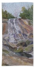 Bath Towel featuring the painting Stone Mountain Falls April 2013 by Joel Deutsch