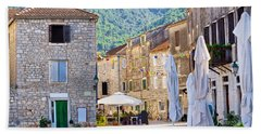 Stone Streets Of Stari Grad On Hvar Island Hand Towel