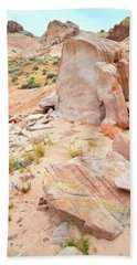 Hand Towel featuring the photograph Stone Tablet In Valley Of Fire by Ray Mathis