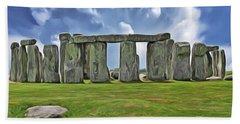 Bath Towel featuring the digital art Stonehenge by Harry Warrick