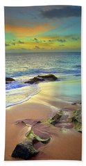 Bath Towel featuring the photograph Stones In The Sand At Sunset by Tara Turner