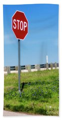 Stop For The Blue Bonnets Hand Towel by Joan Bertucci