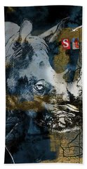 Stop Rhino Poachers Wildlife Conservation Art Hand Towel