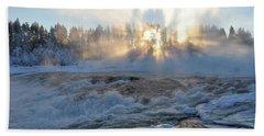 Storforsen, Biggest Waterfall In Sweden Bath Towel
