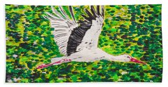 Stork In Flight Hand Towel