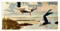 Storks II Hand Towel by Henryk Gorecki