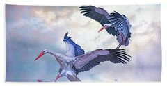 Bath Towel featuring the photograph Storks Landing by Brian Tarr
