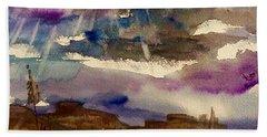 Storm Clouds Over The Desert Bath Towel by Ellen Levinson