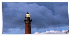 Storm Looms Near Currituck Beach Lighthouse Hand Towel
