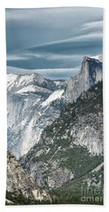 Bath Towel featuring the photograph Storm Over Half Dome by Sandra Bronstein