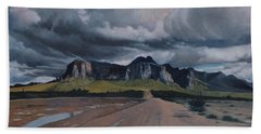Storm Over The Superstitions Bath Towel by Barbara Barber
