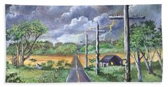 Hand Towel featuring the painting  Storm by Randol Burns