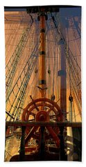 Storm Ship Of Old Hand Towel by Lori Seaman