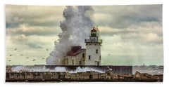 Storm Waves At The Cleveland Lighthouse Hand Towel