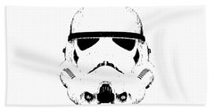 Hand Towel featuring the digital art Stormtrooper Helmet Star Wars Tee Black Ink by Edward Fielding