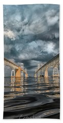 Stormy Chesapeake Bay Bridge Bath Towel