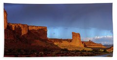 Hand Towel featuring the photograph Stormy Desert by Chad Dutson