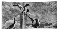 Stormy Pelicans Hand Towel