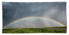 Bath Towel featuring the photograph Stormy Rainbow by Ryan Crouse