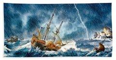 Bath Towel featuring the digital art Stormy Seas by Pennie McCracken