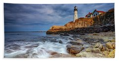 Stormy Skies At Portland Head Bath Towel by Rick Berk
