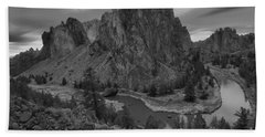 Stormy Skies Over Smith Rock - Black And White Bath Towel