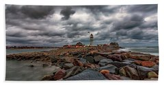 Stormy Sunrise Over Scituate Lighthouse Bath Towel by Brian MacLean