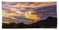 Stormy Sunset Skies In The Sonoran  Bath Towel
