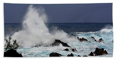 Stormy Surf At Laupahoehoe Bath Towel