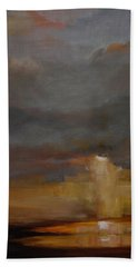 Stormy Waterscape Sunset Seascape Marsh Painting Hand Towel by Gray Artus