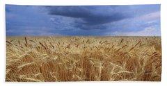 Bath Towel featuring the photograph Stormy Wheat Field by Lynn Hopwood