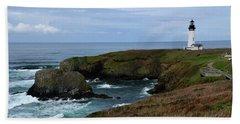 Stormy Yaquina Head Lighthouse Bath Towel