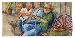 Bath Towel featuring the painting Storyteller Friends by Marilyn Smith