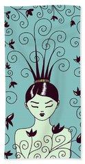 Strange Hairstyle And Flowery Swirls Hand Towel