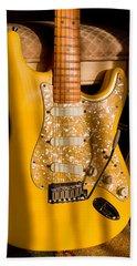 Stratocaster Plus In Graffiti Yellow Bath Towel