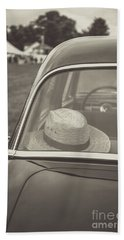 Straw Hat Vintage Car Craftsbury Vermont Bath Towel