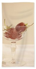 Strawberries In A Glass Hand Towel