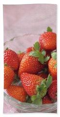 Strawberries Hand Towel by Rachel Mirror