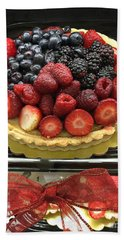 Bath Towel featuring the photograph Strawberries Rasberries Luscious Dessert Fruit Pie With Red Bow  by Kathy Fornal