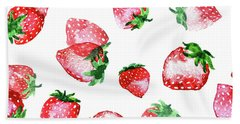 Strawberries Hand Towel by Varpu Kronholm