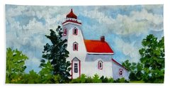Strawberry Island Lighthouse, Manitoulin Island Hand Towel