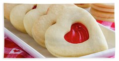 Bath Towel featuring the photograph Strawberry Jam Filled Heart Cookies by Teri Virbickis