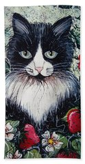 Strawberry Lover Cat Hand Towel by Natalie Holland