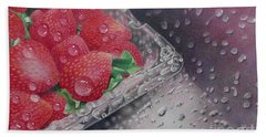 Strawberry Splash Hand Towel by Pamela Clements