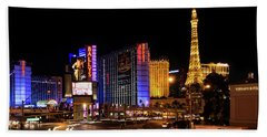 Streaking Along The Famous Strip - Las Vegas Neon Rush Hand Towel