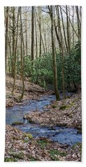 Stream In The Winter Woods Bath Towel